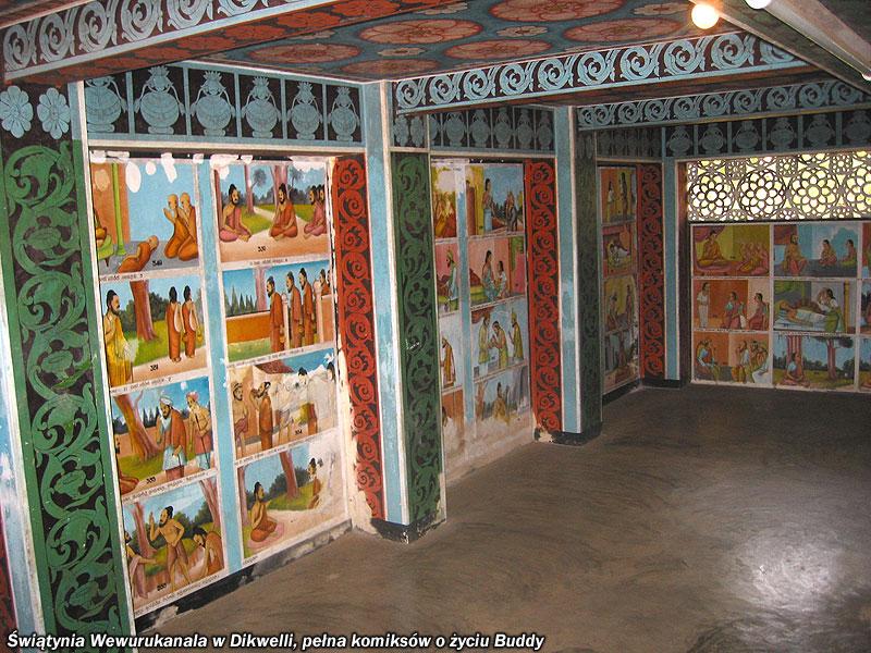 Świątynia Wewurukanala w Dikwelli, pełna komiksów o życiu Buddy