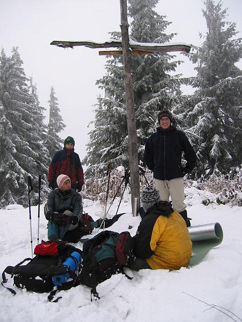 Tomek, Jasiek, Marcin i ja na Mogielicy