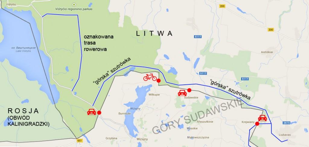 Mapa Gór Sudawskich i okolicy.