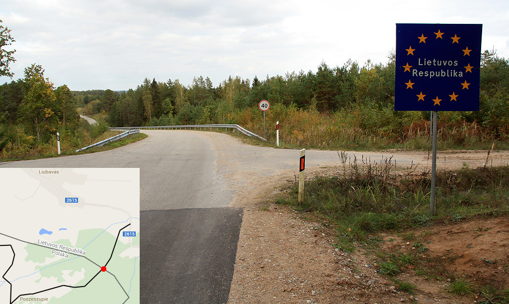 Granica koło kolonii Ziogaiciai, koniec nowowybudowanego łącznika.
