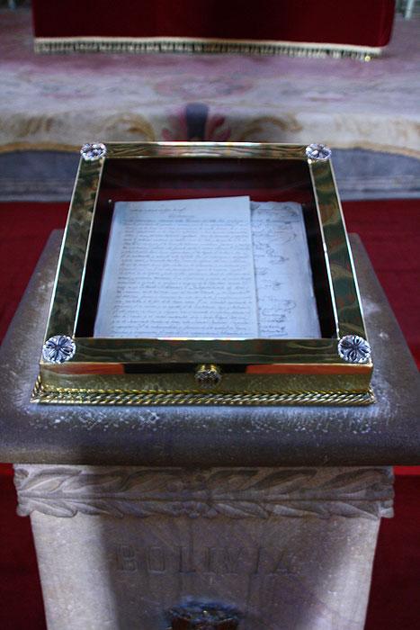 Oryginal boliwijskiej deklaracji niepodleglosci z 1825 r. w Case de la Libertad w Sucre.