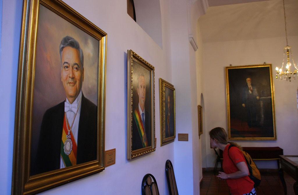 W galerii portetow prezydentow w Case de la Libertad.