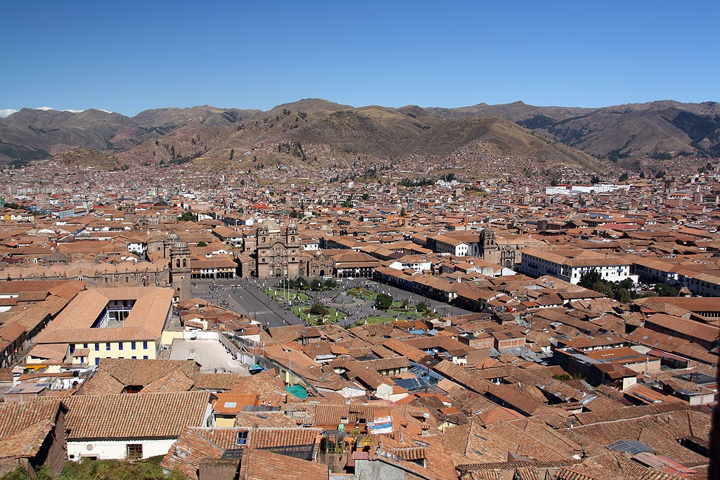 Stare miasto w Cusco, widok z Sacsayhuamán.