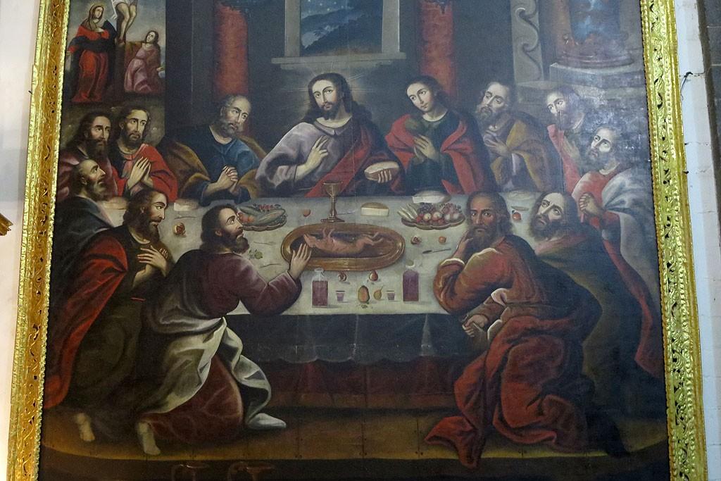 Słynny obraz Ostatnią Wieczerzą z katedry w Cusco. Zwracamy uwagę, że apostołowie zabierają się do konsumpcji świnki morskiej.