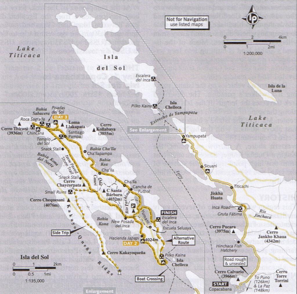 Mapka Isla del Sol ze starego przewodnika LP Trekking in Central Andes (ostatnie wydanie 2003 r.)