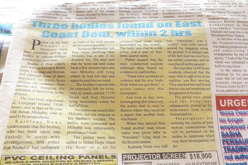 Przegląd prasy gujańskiej vol. 1 - ile osób zmarło na wschodnim wybrzeżu w ciągu ostatniej doby?
