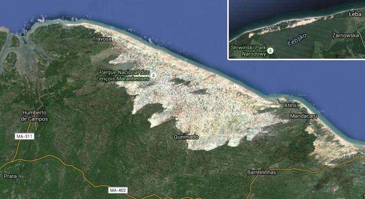 Porównanie wielkości Lencois Maranhenses (1500 km² wydm) oraz sto razy mniejszego Słowińskiego Parku Narodowego (mniej niż 15 km² wydm)