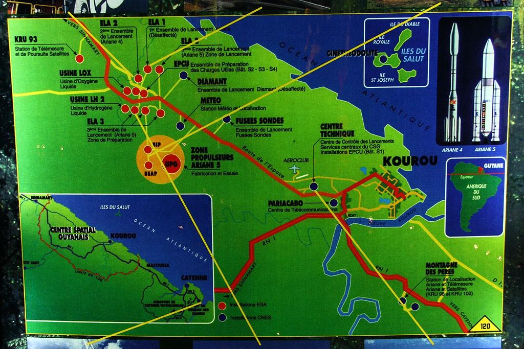 Mapa Gujańskiego Centrum Kosmicznego
